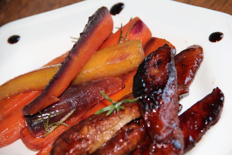 Aiguillettes de canard à l'orange et au miel, carottes rôties au miel et romarin