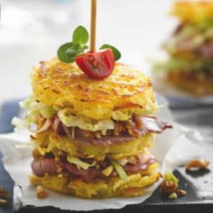 club pommes de terre, bœuf et tapenade de fruits secs