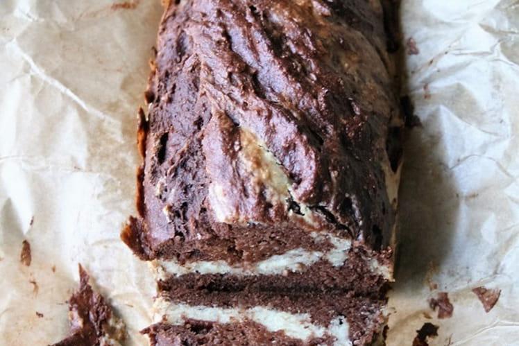 Cake marbré chocolat-coco, sans gluten, oeufs, lait
