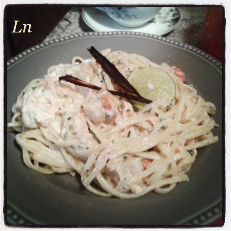 recette de p 226 tes linguine au saumon fum 233 crabe et jacques sauce vanille et citron vert