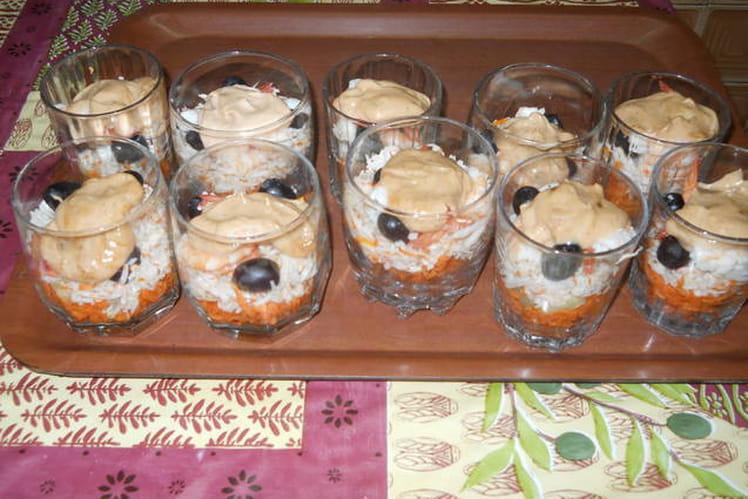 Verrines crevettes poisson blanc saveur crabe