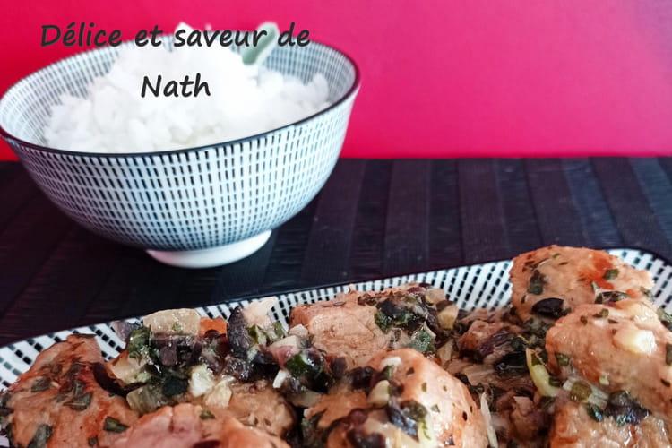 Sauté de veau aux olives et au basilic