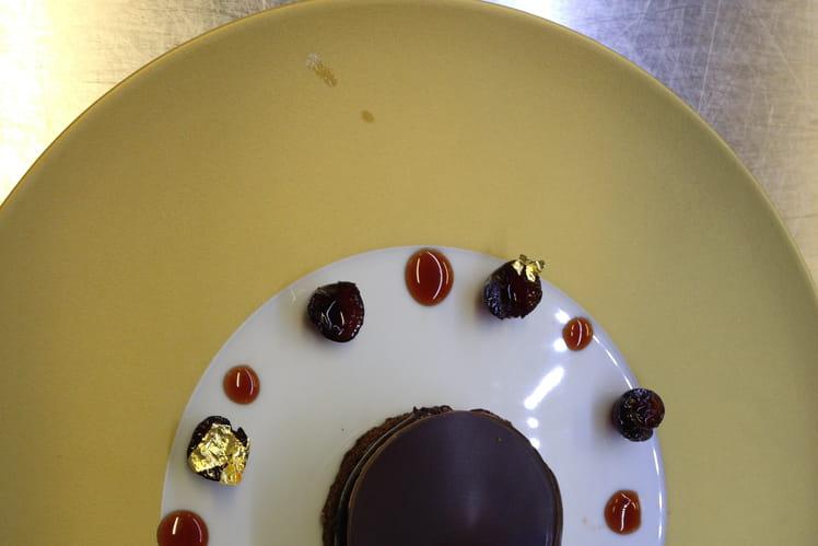 Chaud-froid de chocolat épicé, fleur de sel et café