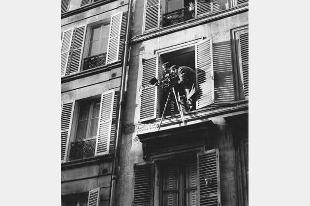 François Truffaut et Claude Beausoleil 1962, rue Nollet à Paris