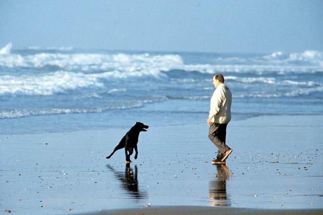 Avec son chien, au bord de l'Atlantique, 1991