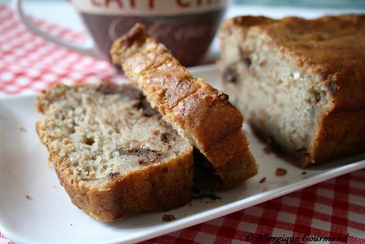 Banana bread aux pépites de chocolat, bio, sans gluten, sans oeufs ni lait