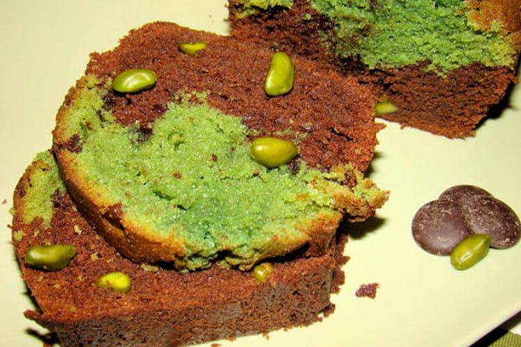 Cake marbré chocolat-pistache