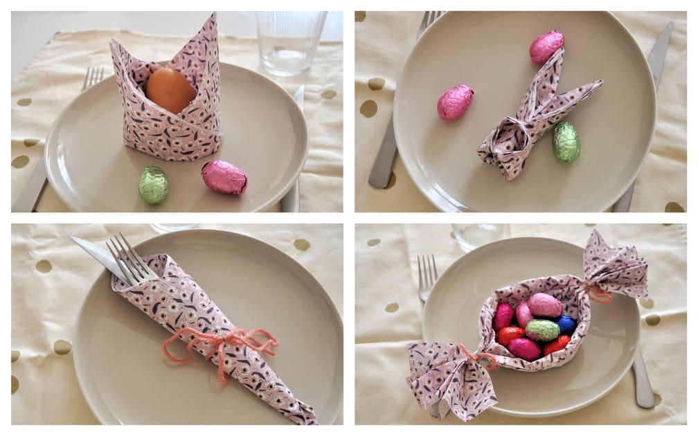 4pliages de serviette faciles pour Pâques