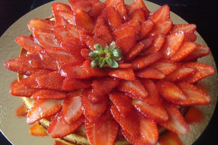 Tarte aux fraises et au sirop de fraise