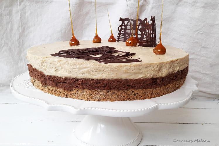 Entremets d'automne café chocolat praliné noisette