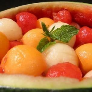 méli-mélo de melons et pastèques à l'eau de rose