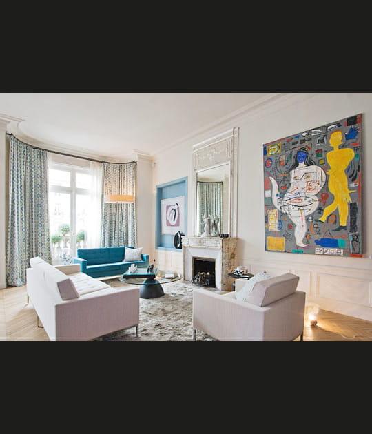 Salon en bleu et blanc