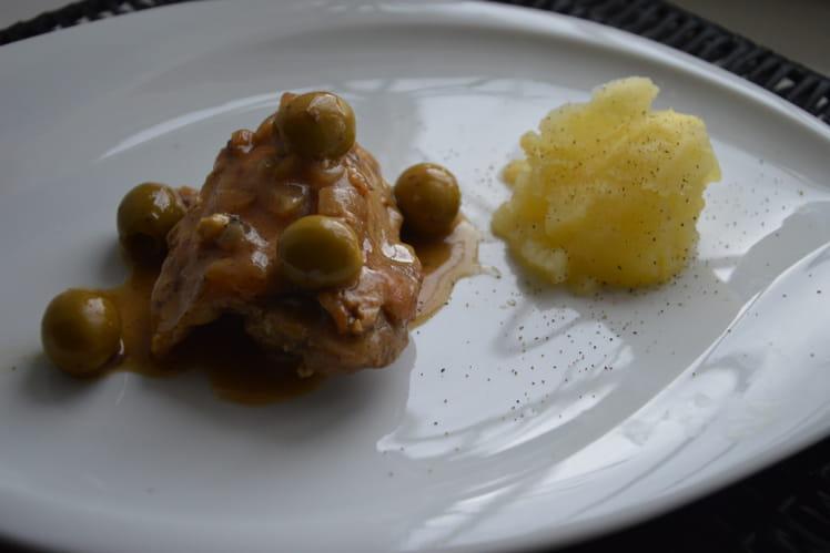 Poulet aux olives au vin blanc