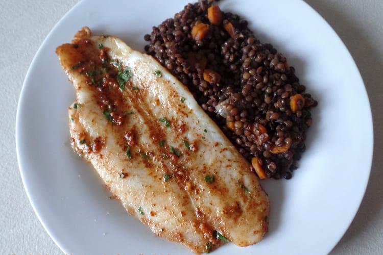 Filets de poisson à la Marocaine et lentilles épicées