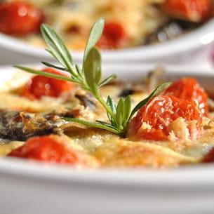 clafoutis d'aubergines et tomates confites