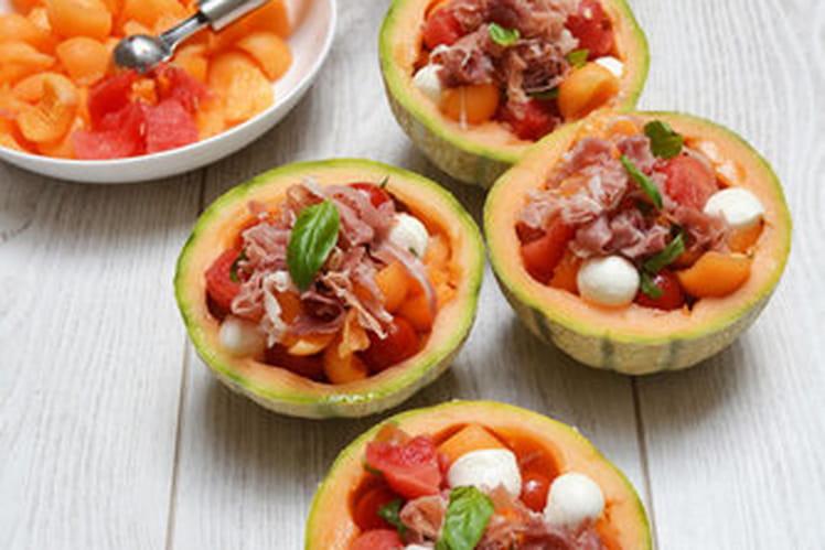 Salade de melon, pastèque et jambon de pays