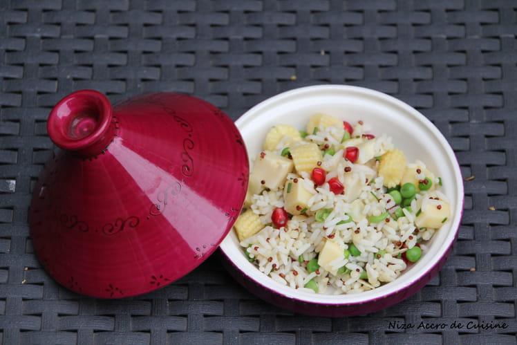 Salade de riz aux cœurs de palmiers, baby maïs et Tomme aux fleurs
