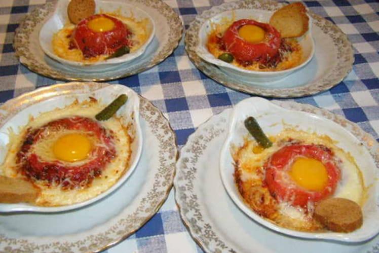 Tomates farcies aux œufs, persil et gruyère