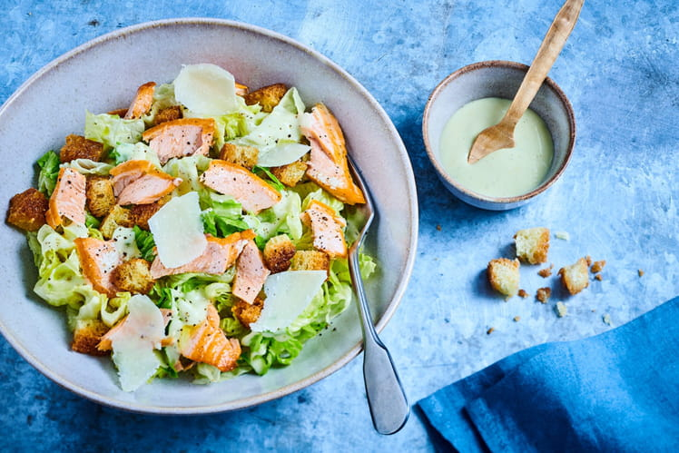 Caesar Salad à l'effiloché de truite