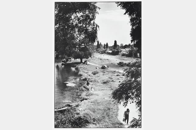 L'île Brise pain sur la Marne depuis le pont de Créteil - Paris,1956