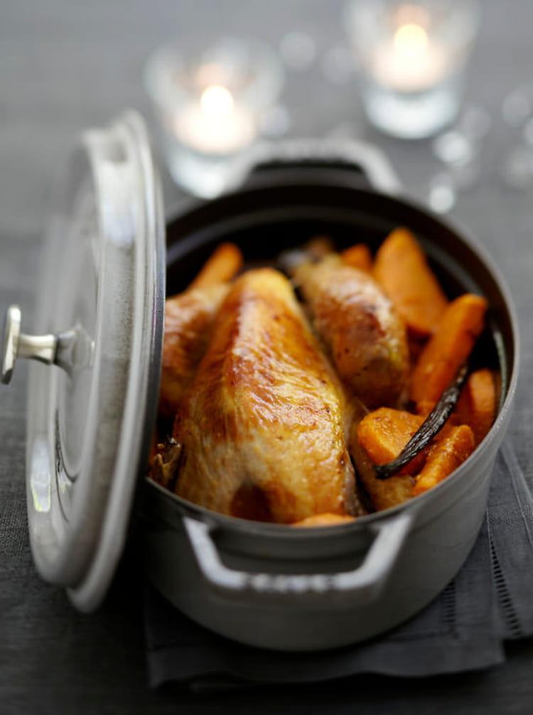 Recette de chapon de pintade en cocotte aux patates douces - Cuisiner avec une cocotte ...