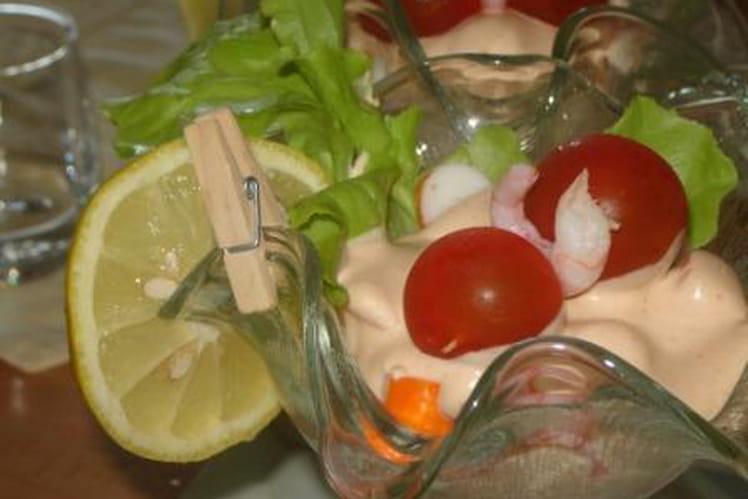 Cocktail de crevettes avec sauce maison