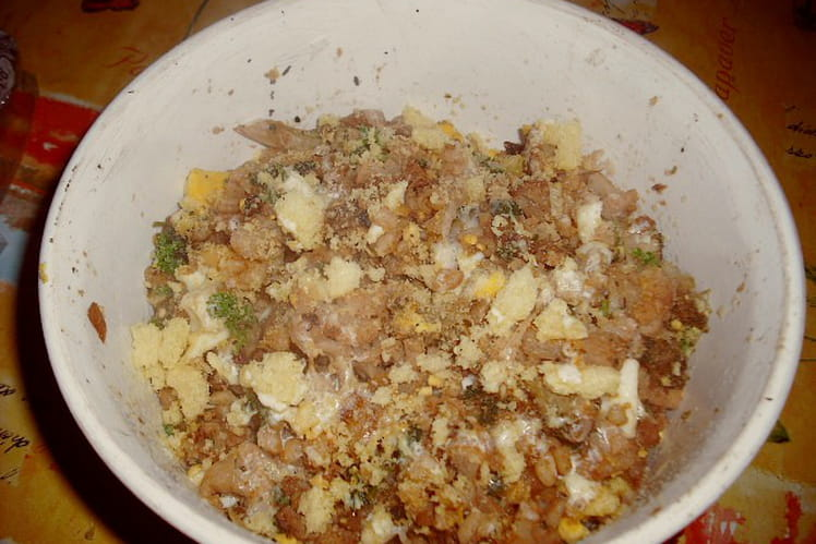 Choux et blé aux oeufs persillés