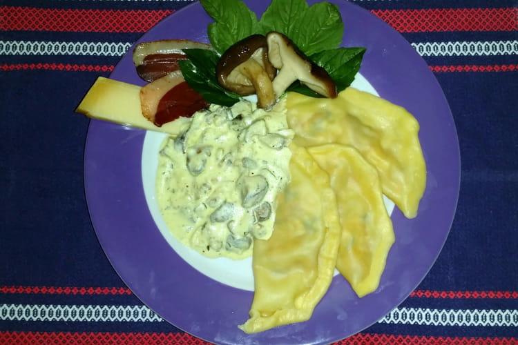 Raviole de magret de canard et shiitake