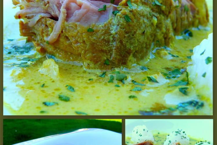 Rôti de veau en curry et quenelles de riz gluant