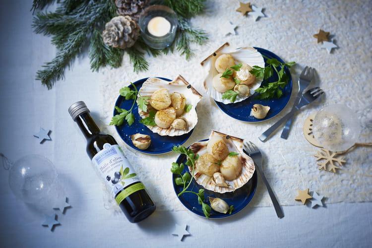 Coquilles Saint-Jacques à l'ail confit et huile d'olive fruitée par Bio Planète