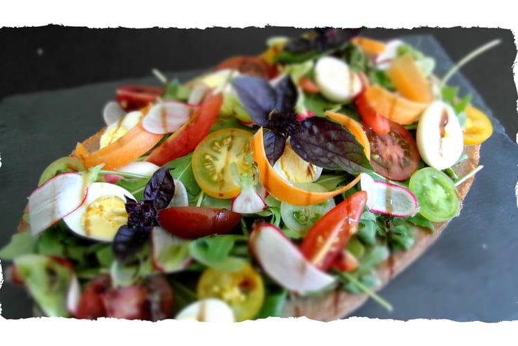Bruschetta anchoïade et légumes croquants