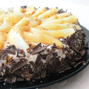 fondant choco-caramel-poire, chantilly au pralin