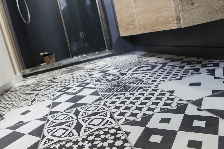 le carrelage effet carreaux de ciment. Black Bedroom Furniture Sets. Home Design Ideas