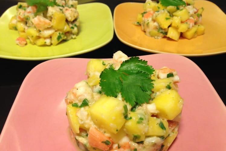 Tartare de crevettes, mangue et gingembre