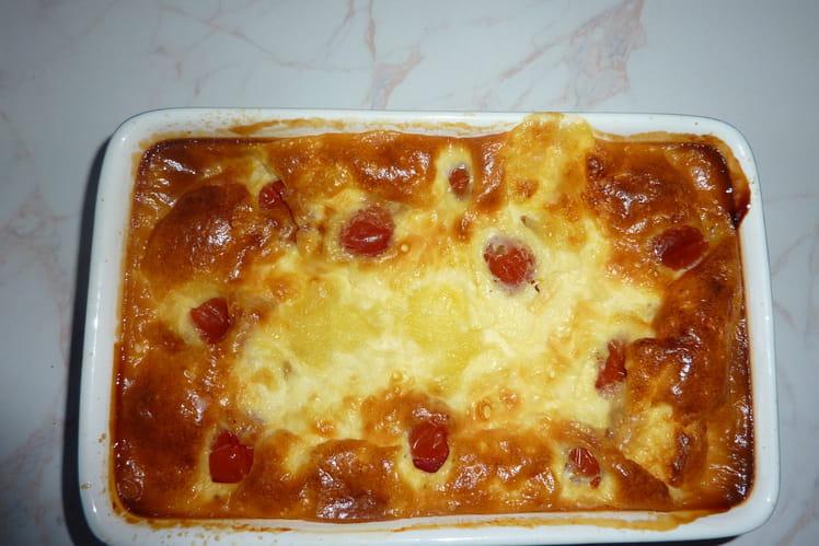 Clafoutis au jambon, tomate et mozza