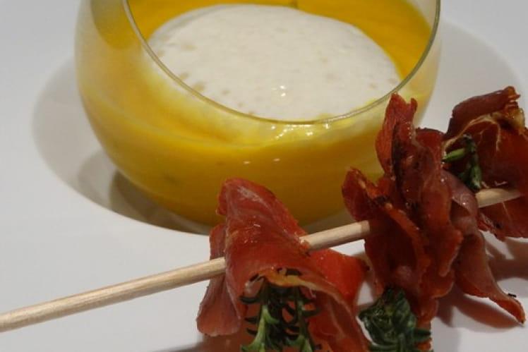Soupe potimarron-orange et magret de canard