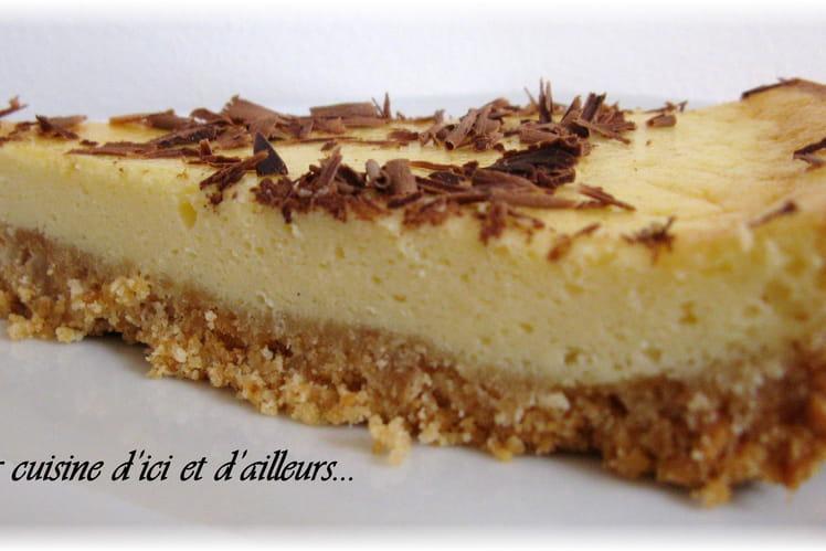 Cheesecake nature et copeaux de chocolat