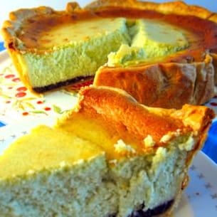 tarte au fromage blanc au thé matcha et au pavot