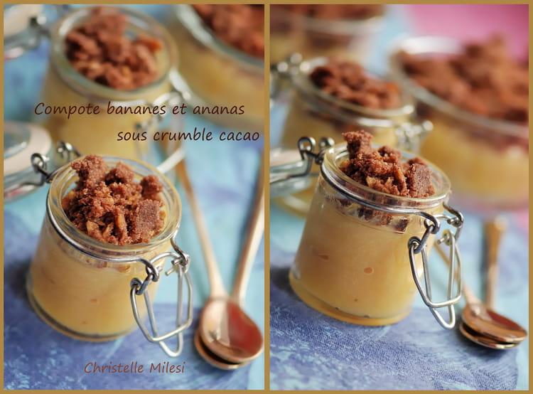 recette de compote bananes ananas sous crumble cacao la recette facile. Black Bedroom Furniture Sets. Home Design Ideas