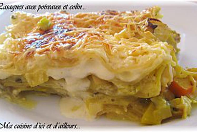 Lasagnes aux poireaux et colin