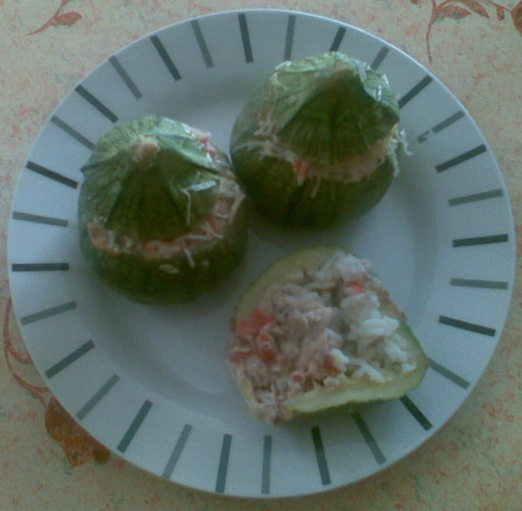 Courgettes rondes farcies tomate sardine - Cuisiner courgettes rondes ...