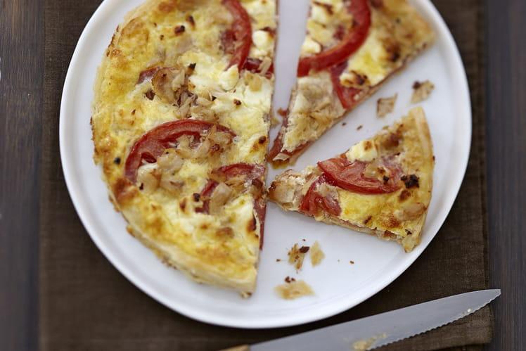Quiche à la tomate, Carré Frais et thon à la moutarde