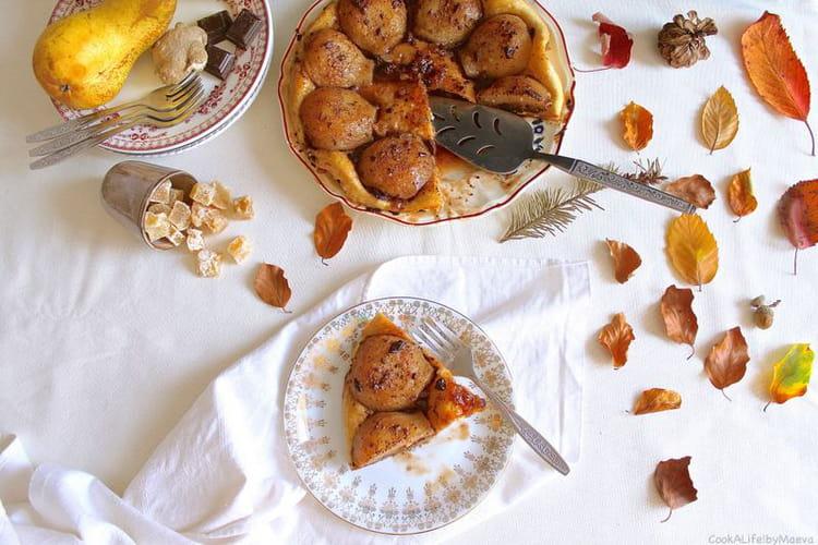 Tatin aux poires, chocolat et gingembre (option vegan)