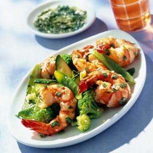 salade de gambas marinées au basilic
