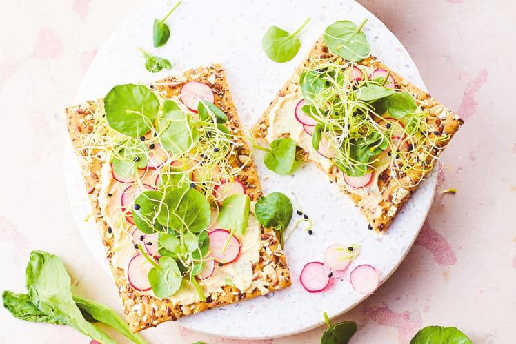 Tartines de houmous, crudités et graines germées