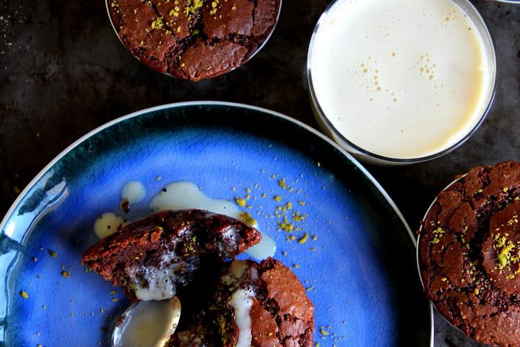 Fondants au chocolat et crème anglaise