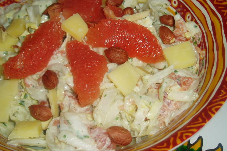 Salade d'endives et pomelos roses