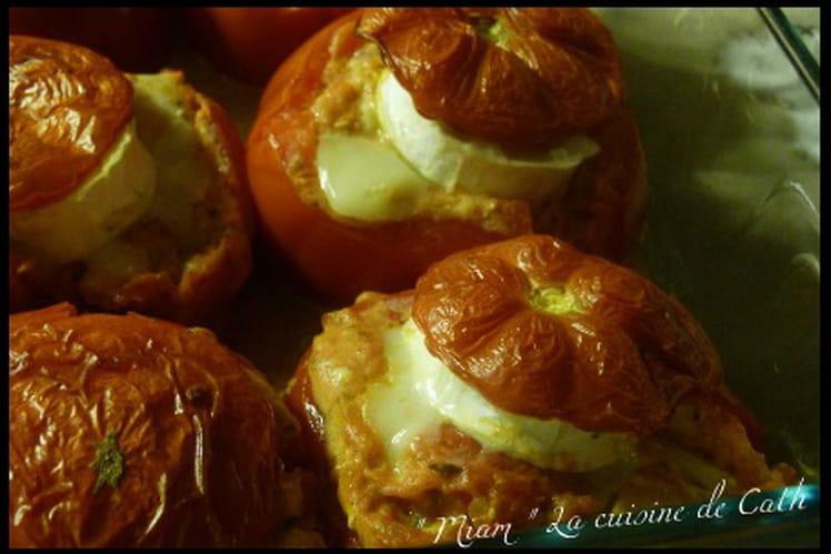 Tomates farcies au chèvre et au poulet