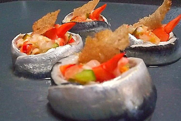 Sardines marinées et salpicon de crevettes