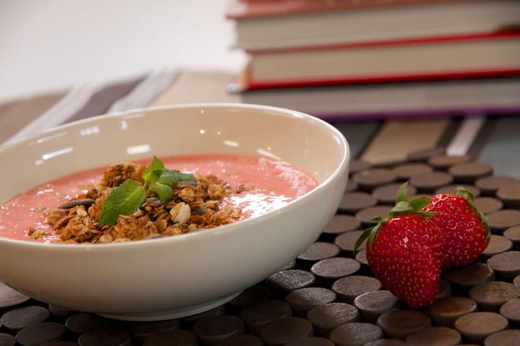 Granola au lassi de fraises rondes